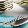 Stock Photo: Silver spoon and fork