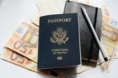 Passport and money — 图库照片