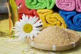 Salt, oil and flower — Stock Photo
