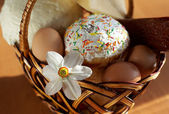 Easter cake in a basket — Stock Photo