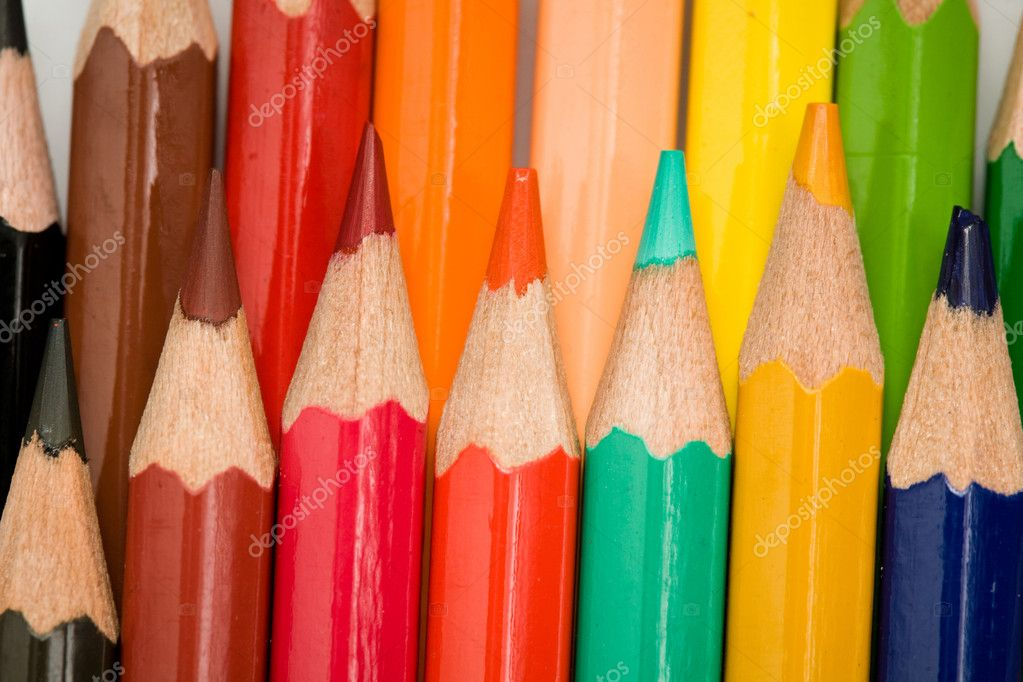 Stock photo: an image of row of various coloured pencils — Stock Photo #8568399