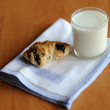 Croissant and milk - Stock Photo