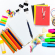 Notepad with stationary objects — Stock Photo #8574668