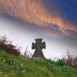 Graveyard and dramatic clouds — Stock Photo