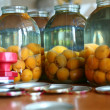 Jars with apricots — Stock Photo