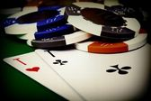 Two cards and chips — Stock Photo