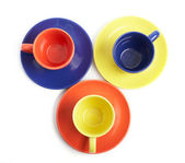 Color cups and saucers — Stock Photo