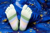 Yeşil çizgili çorap — Stok fotoğraf