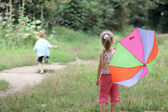 Play with umbrella — Stock Photo