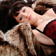 Stock Photo: Nice woman in fur