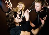 Rock band in studio — Stockfoto
