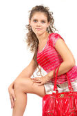 Girl with red bag — Stok fotoğraf