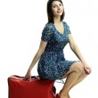 Nice woman with red bag — Stock Photo #8603693