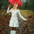 Woman with umbrella — Stock Photo