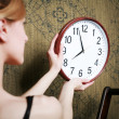 White clock on the wall — Stock Photo #8629292