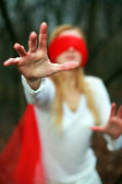 Red blindfold — Stock Photo
