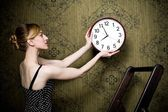 White clock on the wall — Stock Photo