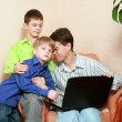 Father and his sons — Stock Photo