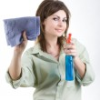Cleaning window — Stock Photo