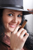 Girl with cigar — Stock Photo