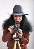 Woman-photographer — Stock Photo