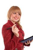 Lachende meisje in rood pak — Stockfoto