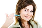 žena s injekční — Stock fotografie