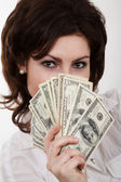 Girl with dollars — Stock Photo