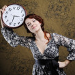 Stock Photo: Woman & clock