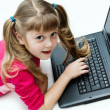 Stock Photo: Girl with laptop