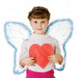 Cupid with red heart — Stock Photo