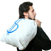 Man with bag on his back — Stock Photo