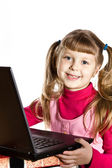 Girl with laptop — Stockfoto