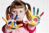 Chica y pintura — Foto de Stock