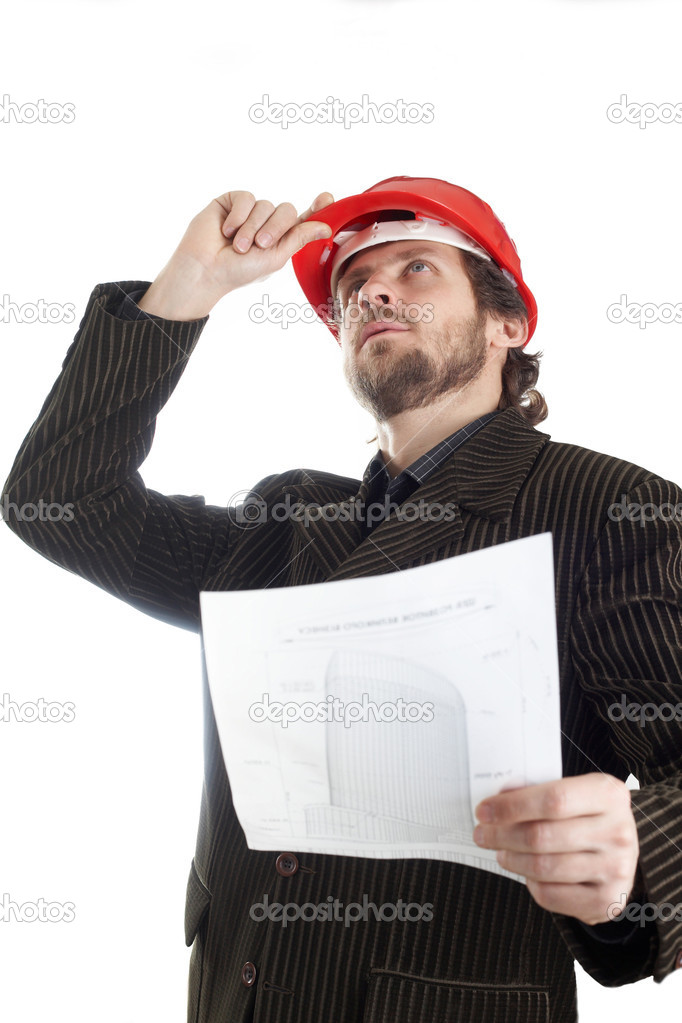 Inspector checking out how the construction is going on — Stock Photo #8657502