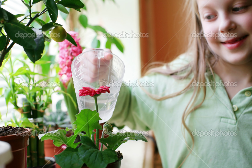 An image of a happy girl watering her flowers — Stock Photo #8659607