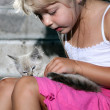 Nice girl with cat — Stock Photo #8660044