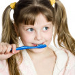 Nice girl with toothbrush — Stock Photo
