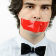 Tape on his mouth — Stock Photo