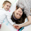 Sisters drawing together - Stockfoto