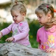 Two children outdoors — Stock Photo