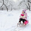Stock Photo: Girl sledding