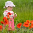 Baby with poppies — Stock fotografie