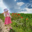 Baby on a lane amongst a field — Foto de Stock