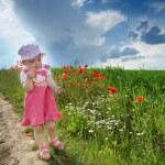 dziecko na pasie między polem — Zdjęcie stockowe