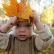 Baby with leaves — Stok fotoğraf