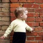 Little girl near brick wall — Stock Photo #8665423