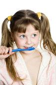 Diş fırçası ile güzel kız — Stok fotoğraf