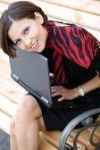 Woman with laptop — Foto de Stock