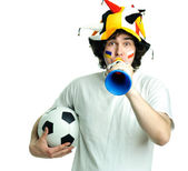Football fan with ball and trumpet — Stock Photo